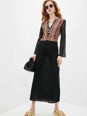 Повседневное черное платье Fuzzi