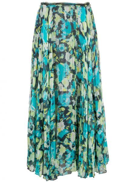 Плиссированная зеленая шелковая юбка миди Jason Wu Collection