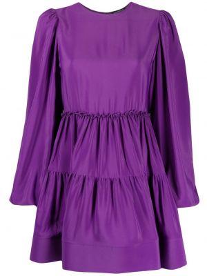 Fioletowa sukienka mini rozkloszowana z jedwabiu Wandering