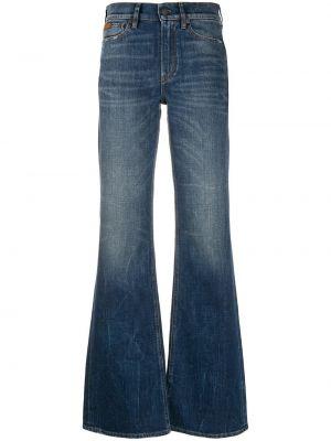Bawełna niebieski z wysokim stanem jeansy na wysokości z kieszeniami Ralph Lauren