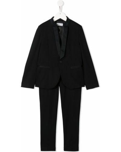 Satynowy klasyczny czarny garnitur Paolo Pecora Kids