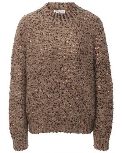 Коричневый шерстяной свитер с пайетками Brunello Cucinelli