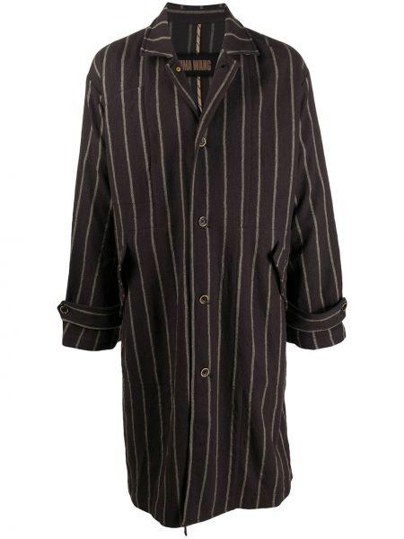 Коричневое шерстяное пальто классическое с воротником Uma Wang