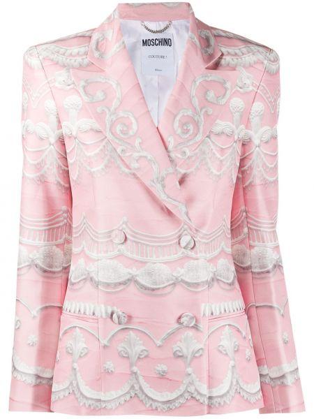 Розовый удлиненный пиджак двубортный с карманами Moschino