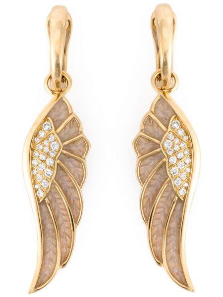 Beżowe złote kolczyki sztyfty z diamentem Garrard