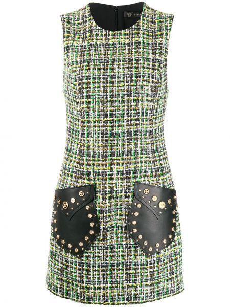 Платье мини на молнии кожаное Versace