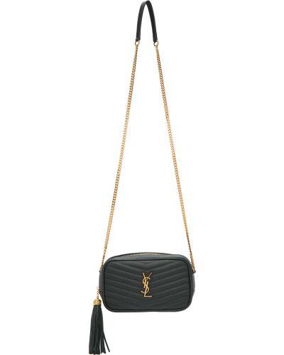 Czarny złoty łańcuszek pikowany Saint Laurent