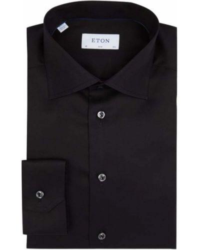 Czarna koszula bawełniana z długimi rękawami Eton
