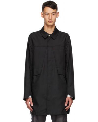 С рукавами черное длинное пальто с воротником с карманами Affix