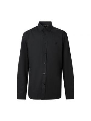 Czarna koszula bawełniana z haftem Burberry