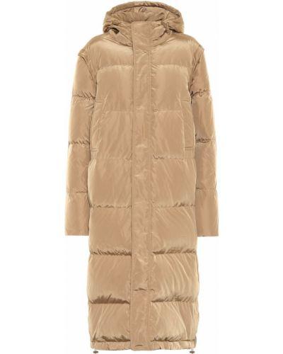 Бежевое пуховое пальто с капюшоном Ganni