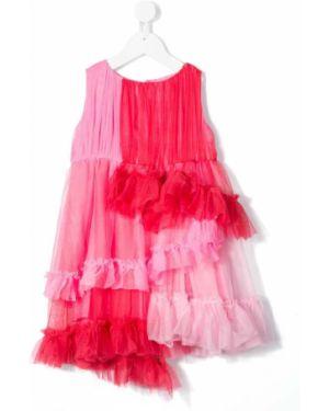 Фиолетовое платье с рукавами из фатина с вырезом круглое Raspberry Plum