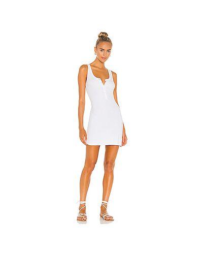 Белое шелковое платье в рубчик эластичное Michael Lauren
