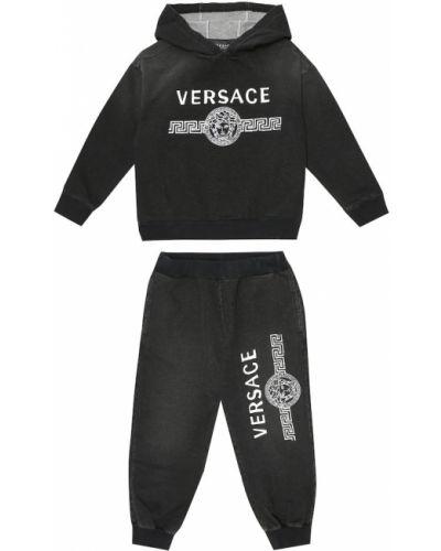 Bawełna bawełna czarny dres rozciągać Versace Kids