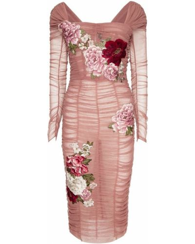 Платье миди коктейльное приталенное с драпировкой Dolce&gabbana