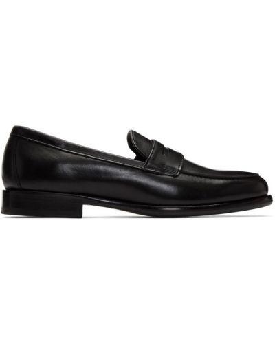 Czarny skórzany loafers na pięcie okrągły Officine Generale