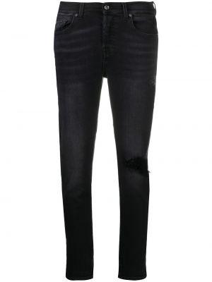 Облегающие черные укороченные джинсы на молнии 7 For All Mankind