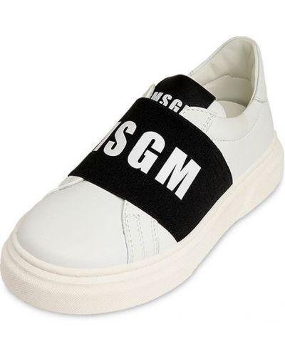 Кожаные белые слипы эластичные Msgm