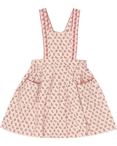 Хлопковое ватное розовое платье стрейч Caramel