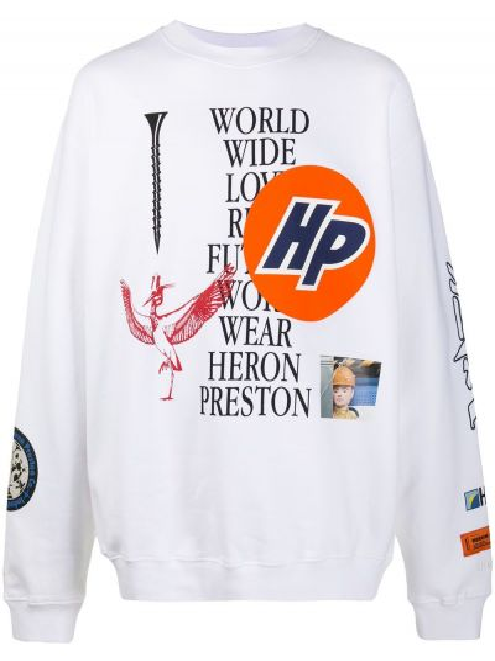 Bawełna bawełna biały bluza Heron Preston