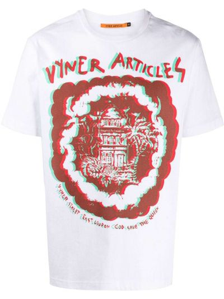 Прямая белая хлопковая футболка с круглым вырезом Vyner Articles