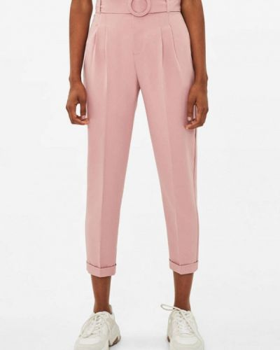Классические брюки розовый Bershka