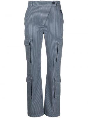 Синие брюки карго в полоску с карманами Kenzo