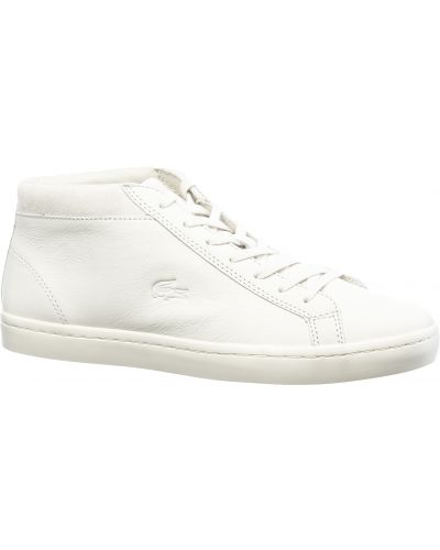 Деловые кожаные белые кеды Lacoste