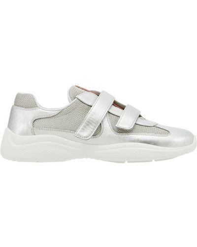 Кроссовки на липучках с логотипом Prada