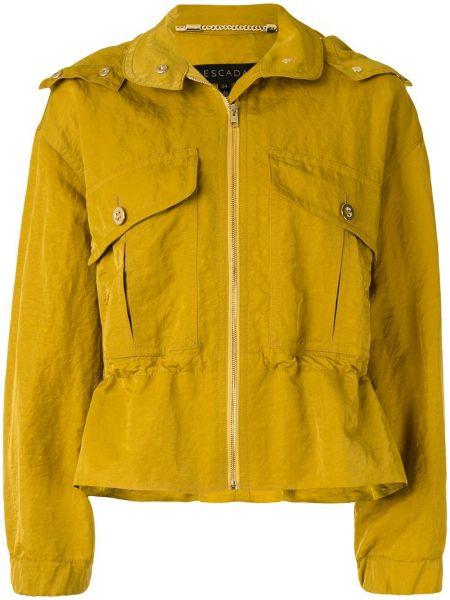 Желтая куртка с капюшоном на молнии Escada