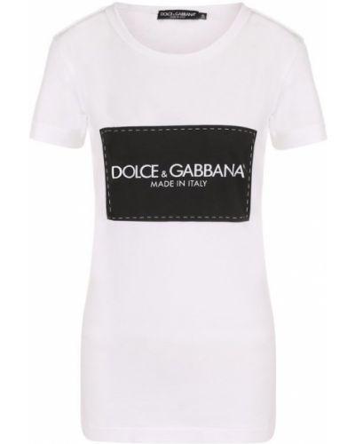 Приталенная хлопковая футболка с логотипом бренда Dolce & Gabbana