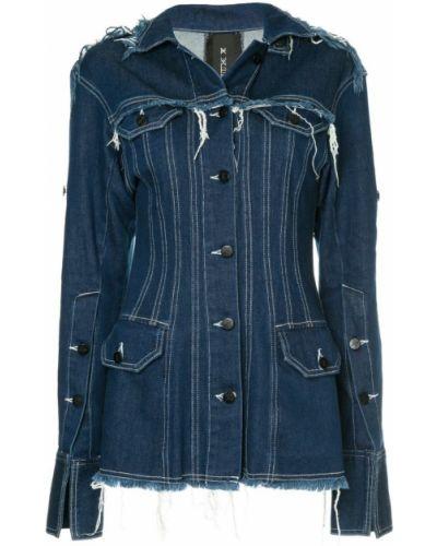 Приталенный синий удлиненный пиджак на пуговицах Kitx