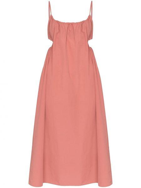 Плиссированное розовое платье миди без рукавов с вырезом Araks