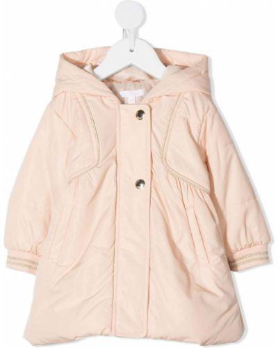 Różowy płaszcz z kapturem z długimi rękawami Chloé Kids