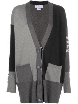 Серое длинное пальто на пуговицах в полоску Thom Browne