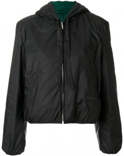 Куртка с капюшоном черная дутая Prada