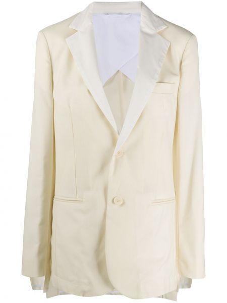 Шерстяной белый удлиненный пиджак на пуговицах Maison Flaneur