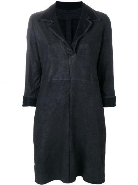 Черное прямое классическое кожаное платье Vanderwilt