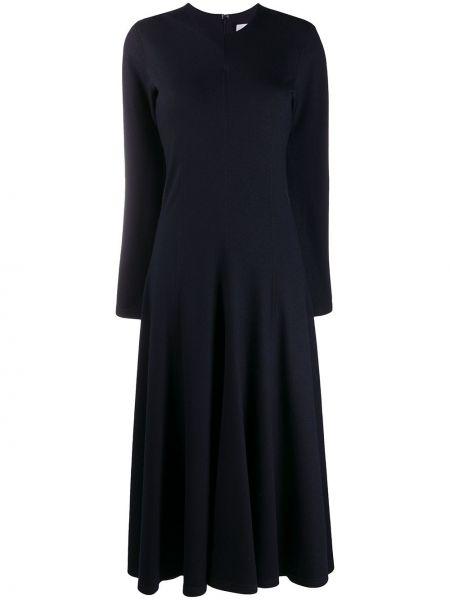 Шерстяное расклешенное тонкое платье с вырезом Jil Sander