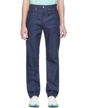 Прямые черные прямые джинсы стрейч с заплатками Band Of Outsiders
