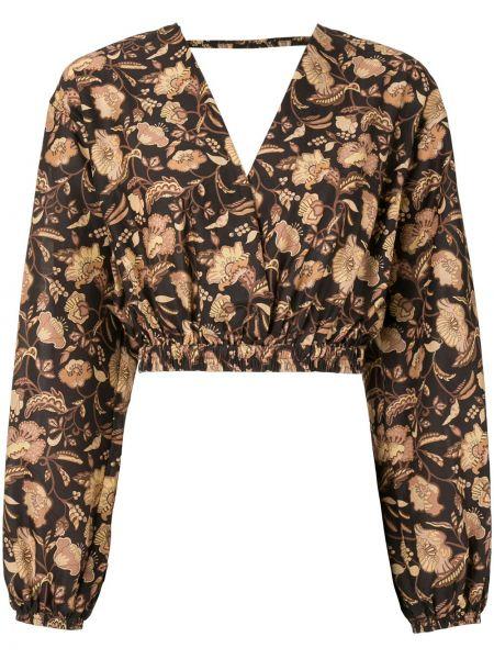Хлопковая коричневая блузка с V-образным вырезом с запахом Matteau