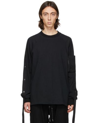 Черная футболка с длинными рукавами с воротником Blackmerle