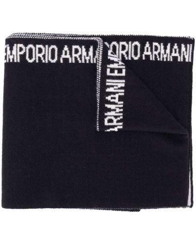 Тонкий синий акриловый шарф вязаный Emporio Armani Kids
