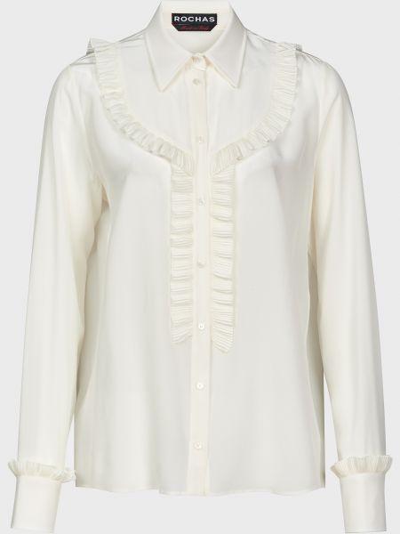 Шелковая белая блузка на пуговицах Rochas