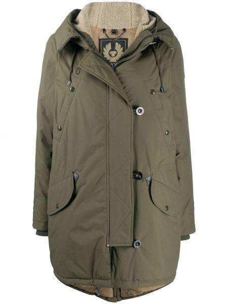 Пуховое длинное пальто с капюшоном для полных Belstaff