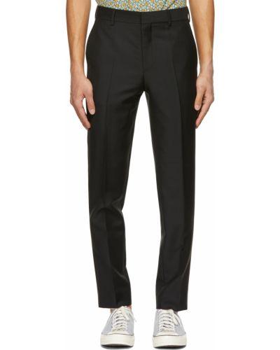 Czarne spodnie z paskiem wełniane Harmony
