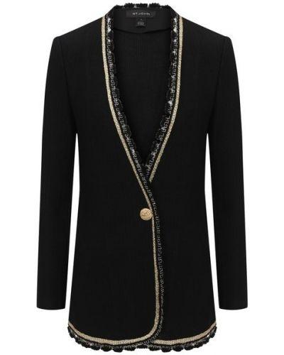 Шерстяной пиджак - черный St. John