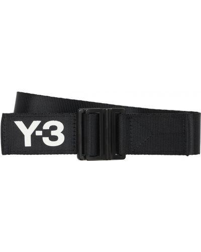 Czarny włókienniczy pasek z klamrą z paskiem Y-3