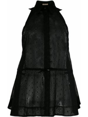 Черный топ на шнуровке с воротником винтажный Alaïa Pre-owned