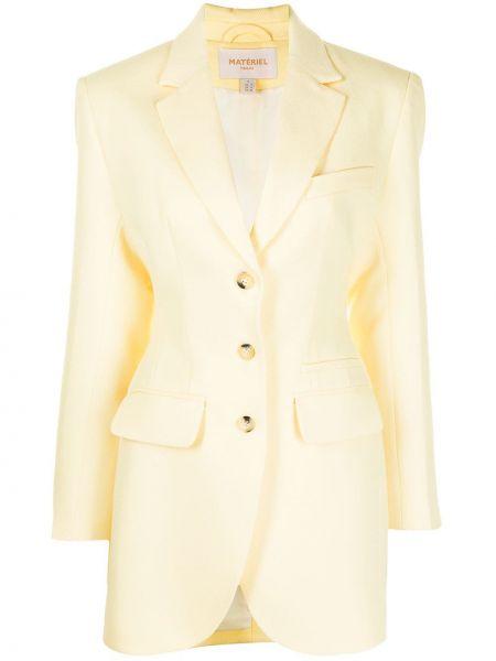 Желтый однобортный удлиненный пиджак на пуговицах Matériel